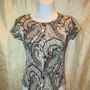 Brittany Black Tops - Sexy Brittany Black Paisley Black White Sequin Top